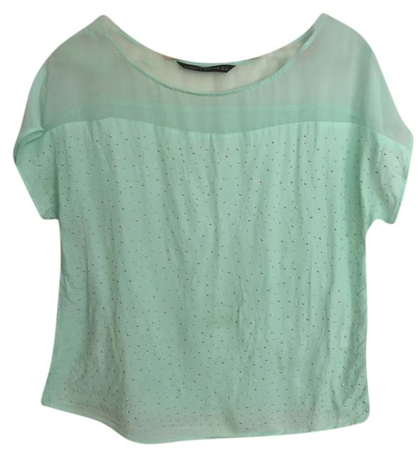 Preload https://item2.tradesy.com/images/zara-turquoise-studded-gold-blouse-size-6-s-4154131-0-0.jpg?width=400&height=650
