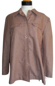 Liz Claiborne Nwt Button Down Shirt Brown with White Pinstripes
