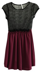 Audrey 3+1 short dress black and wine on Tradesy