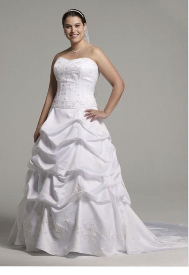 Oleg Cassini White Satin Ballgown Traditional Wedding Dress Size 14 ...