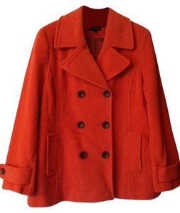 Lands' End Heavy Warm Wool Jacket Trapeze Swing Double-breasted Pea Coat
