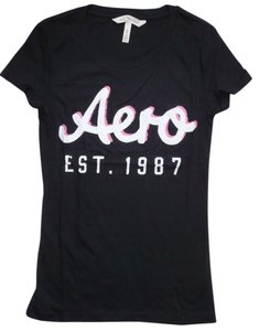 Aéropostale Cotton Casual Party T Shirt Black