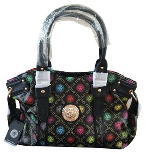 Lion's Head Gold Emblem Tote in Black multicolored