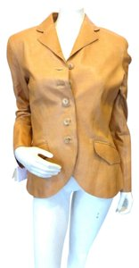 Hermès Leather Silk Lining Camel Leather Jacket