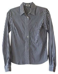Lacoste Button Down Shirt White and navy blue
