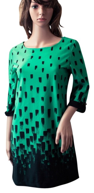 ANANY short dress Blacka nd green Mod Vintage Style 1960s 60s 1980s 80s Shirt Ponte Knit Monochrome Spring Summer Winter Fall Knee Length Hipster Midi on Tradesy