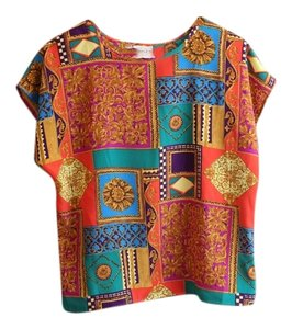 Other Vintage Colorful Floral Square Geometric Artsy Top Mutli