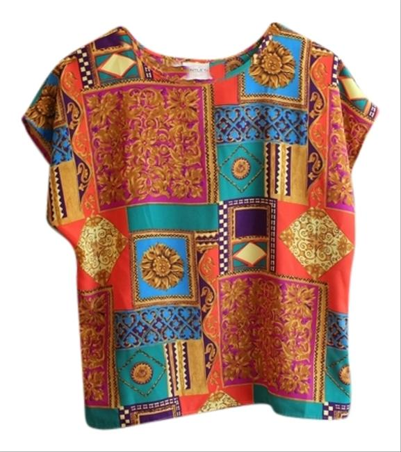 Other Vintage Colorful Floral Geometric Artsy Top Mutli