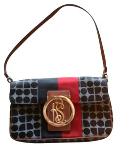 Kate Spade Classic Gold Logo Brown, Red and Blue Clutch