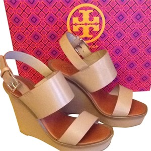 Tory Burch Leather Natural Blush Wedges