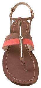 Tory Burch Leather Suede Logo Multi Sandals