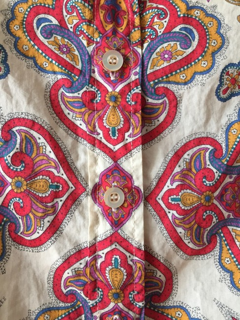 J.Crew Top Red, gold, blue, and cream paisley