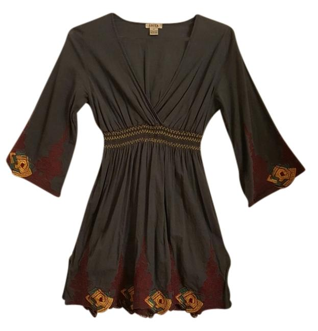 Item - Blue Embroidered Hippy Tunic Above Knee Short Casual Dress Size 8 (M)