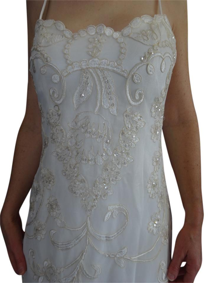 Jessica McClintock Ivory Hand Beaded Formal Wedding Dress Size 4 (S ...