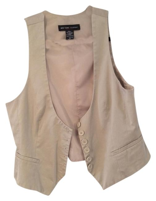 New York & Company Vest Button Down Shirt Tan