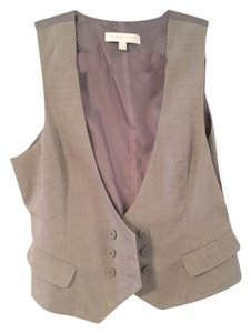New York & Company Vest Work Professional Button Down Shirt Gray