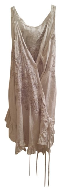 Item - Off White with White and Tan Embroidery Tunic Size OS (one size)
