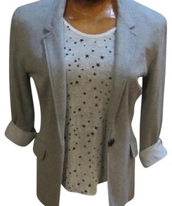 Hazel Striped Lining Cotton Blend Soft Gray Blazer