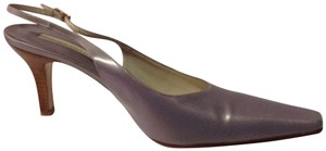 Rangoni Slingbacks Upper Sole Patterned Lilac & Gold Plaid Leather Print Pumps