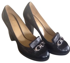 Coach Leather Monogram Oxford Black Pumps