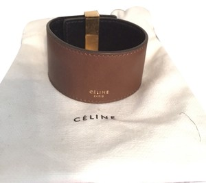 Céline Cline Leather Cuff Wrap Adjustable Olive Bracelet