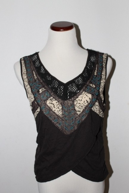 Free People Beaded Embellished Embroidered Net Top brown/green