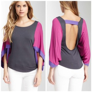 James & Joy Backless Flutter Sleeve Fitted Stretchy Unique Chic Scoop Neck Low Back Viscose Kimono Sleeve 3/4 Sleeve Casual Dressy Top Pink Purple Grey