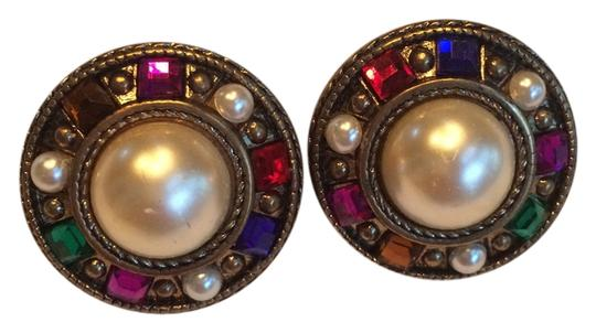 Preload https://item3.tradesy.com/images/multi-jewel-gold-pearls-round-clip-on-earrings-4158727-0-0.jpg?width=440&height=440