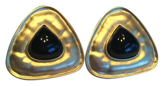 Other Triangle Shaped Matte Gold and Black Clip On Earrings Large