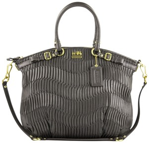 Coach Madison Gathered Leather Lindsey North/ Satchel in Grey