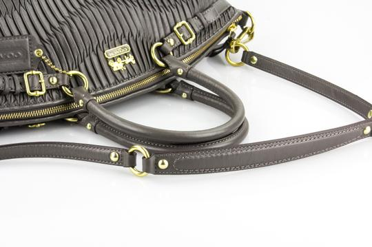 Coach Madison Gathered Leather Lindsey North/South Satchel in Grey