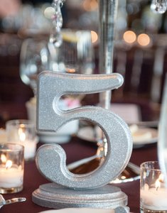 Table Numbers-silver Glitter