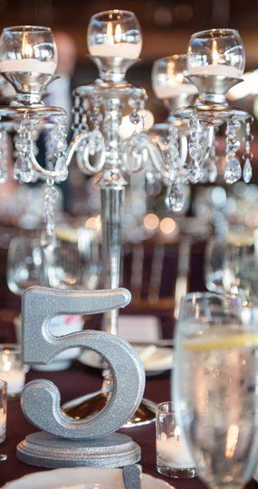 Silver Glitter Table Numbers Tableware