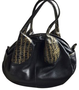 Casa Lopez Leather Purse Quality Satchel in Black and Gold *