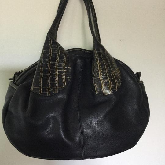 Casa Lopez Leather Spanish Purse Argentina Satchel in Black and Gold *