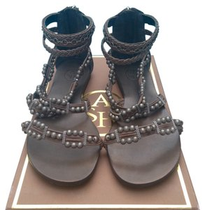 affdb8e2bb66 Ash Gladiator Beaded Leather Silver Grey Sandals