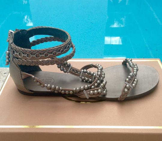 Ash Gladiator Beaded Leather Silver Grey Sandals