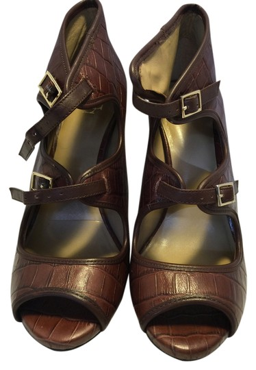 Ann Taylor Terracotta Peep Toe Leather Brown Boots