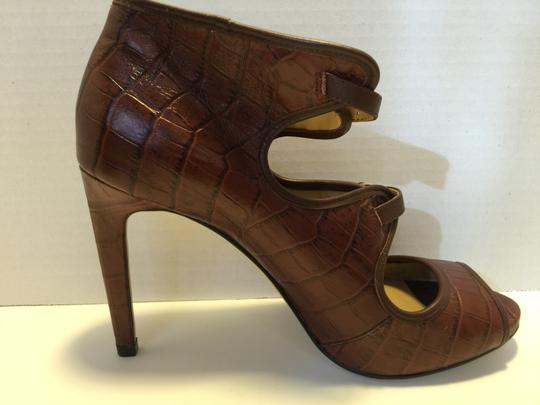 Ann Taylor Terracotta Peep Toe Shootie Leather Brown Boots