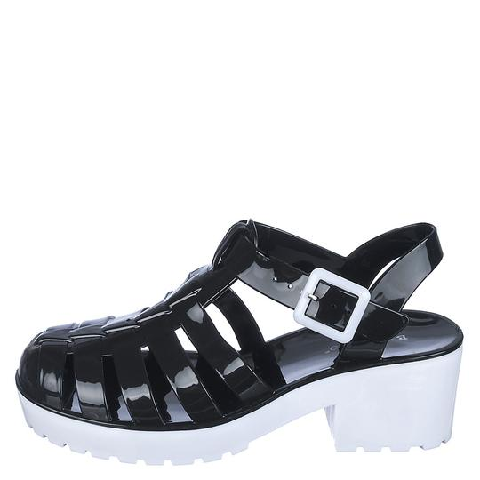 Bamboo Black/White Sandals