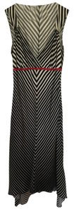 A|X Armani Exchange Striped Black And White Silk Bias Cut Midi Dress