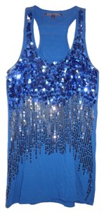 Almost Famous Clothing Sequin Navy Blue Halter Top