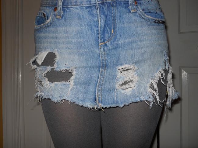 Miss Me Distressed Disstroied Cotton Mini Skirt blue