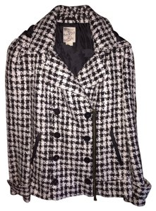 Tulle Houndstooth Removable Hood Pea Coat
