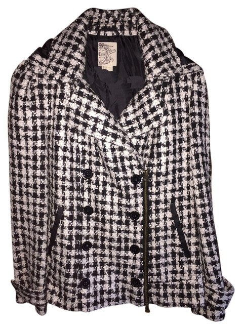 Tulle Houndstooth Removable Hood Hooded Zipper Pea Coat