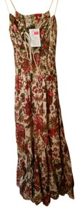 short dress Beige and Red Foral on Tradesy