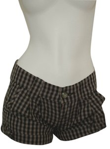 Roxy Ginham Booty Bootie Mini Micro-mini Punk Flannel Rockabilly Preppy Hipster Nerd Geek Geeky Nerdy Summer Spring Mini/Short Shorts Gray and black
