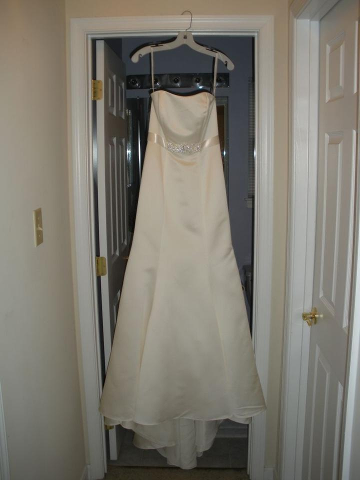 David 39 s bridal satin strapless trumpet gown with ribbon for Wedding dress with red ribbon on waist