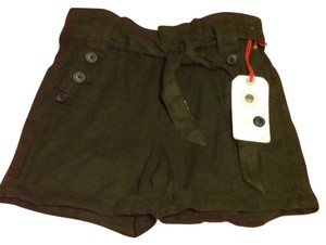 Daughters of the Liberation High Waisted Nautical Cuffed Shorts Dark Olive Green