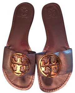 Tory Burch Silver with Gold Emblem Flats
